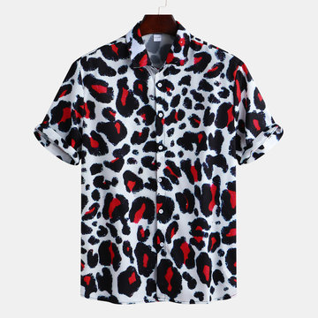 Mens Leopard Printed Holiday Loose Camicia