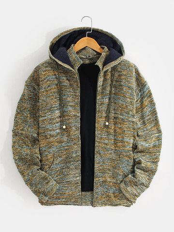 Zip Up Knitted Hooded Cardigans