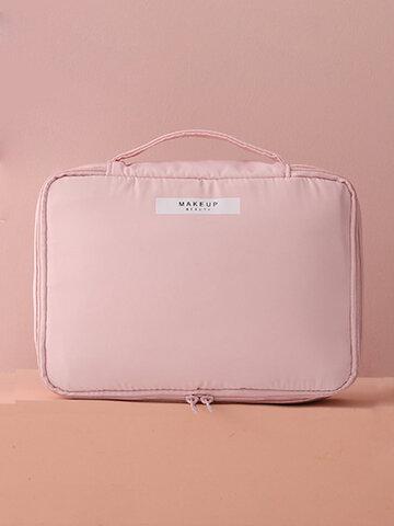 Macaron Color Cosmetic Storage Bag Double Zipper Waterproof
