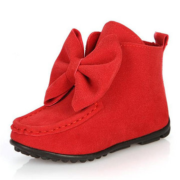 Girls Bowknot Short Boots Cute Princess Flat Dancing Shoes