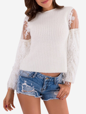 Long Sleeve Lace Patchwork Sweaters
