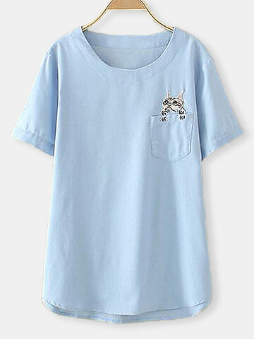 Casual Embroidery Cat Pocket Short Sleeve Shirt фото