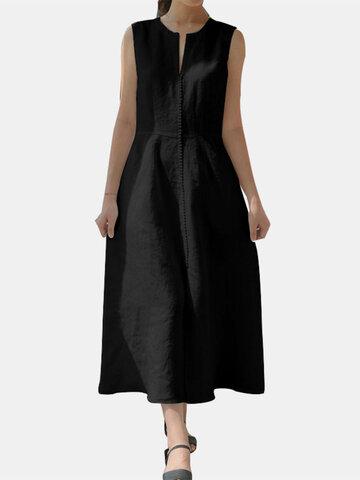 Lace Patch Round V-neck Dress