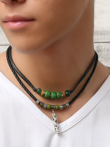 Turquoise Beads Pendant Necklace