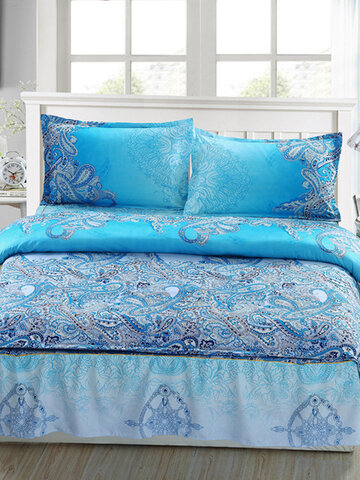 Blue Print Style Queen Size Galaxy Bedding Quilt Doona Duvet Cover Set With 2 Body Pillow Case