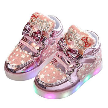 Girls Bowknot Rhinestone LED Casual Shoes