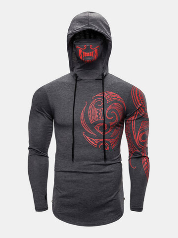 Cotton Pattern Print High Neck Hoodies
