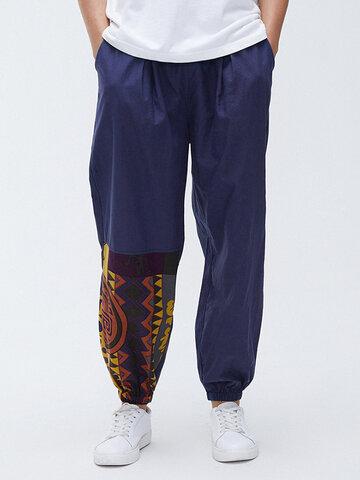 Jogger de algodón con patchwork geométrico Pantalones