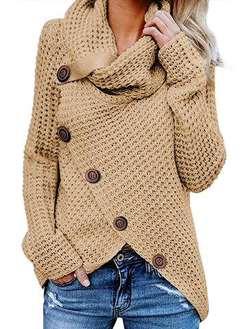 High Neck Irregular Button Sweater