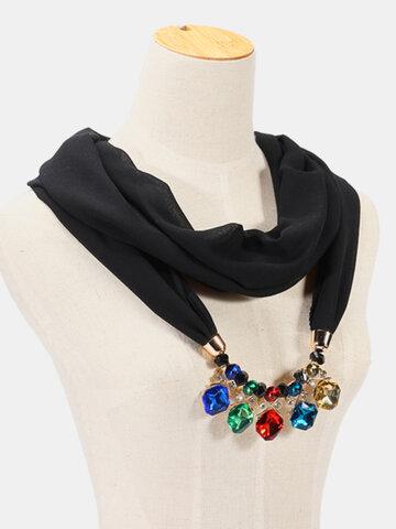 Ethnic Chiffon Scarf Crystal Necklace