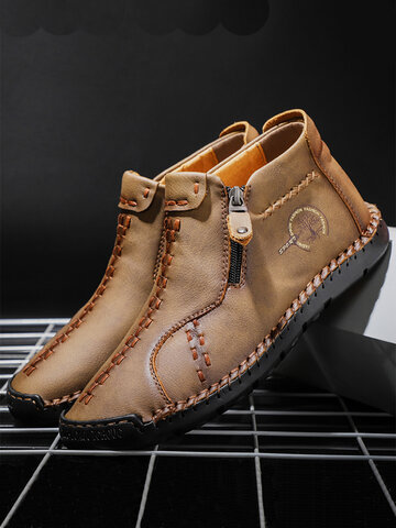 Men Vintage Hand Stitching Leather Boots