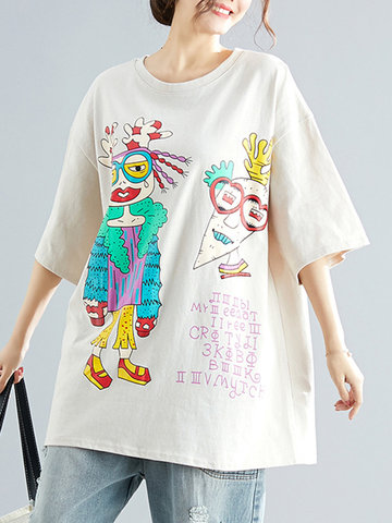 Cartoon Print 3/4 Sleeve Blouse