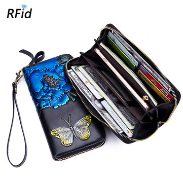Brenice Embossed Rose RFID Wallets Butterfly Clutches Bags