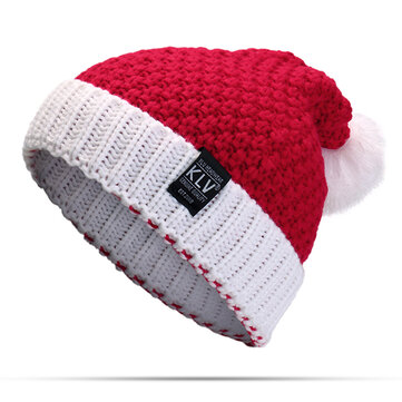 Women Knitted Santa Claus Hat With Pompom