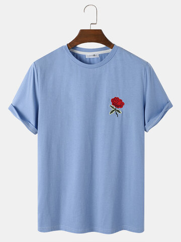 Rose Embroidery Blue T-Shirt