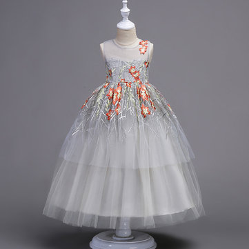 Elegant Girl Embroidery Dress 4Y-15Y