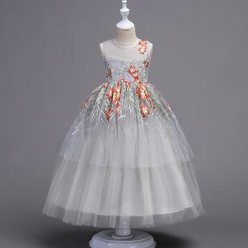 Vestido de menina elegante bordado 4Y-15Y