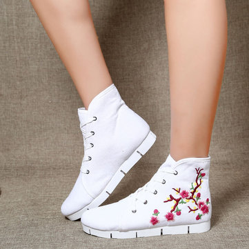 Embroidered High Top Canvas Flat Lace Up Shoes фото