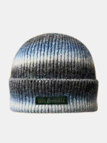 Women & Men Tie-dye Color Gradient Mixed Color Brimless Beanie Hat