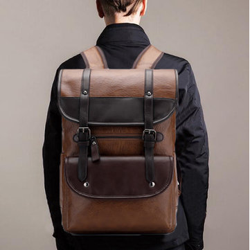 Men Large Capacity Vintage PU Leather Backpack