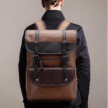 Мужчины большой емкости Винтаж PU кожаный рюкзак