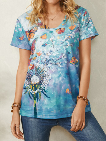Butterfly Print V-neck Casual T-Shirt