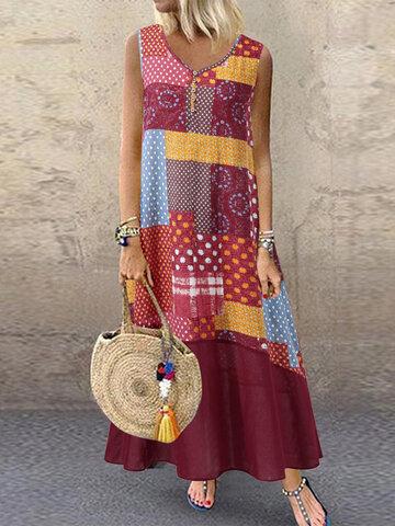 Vestido de retalhos de estampa de verão