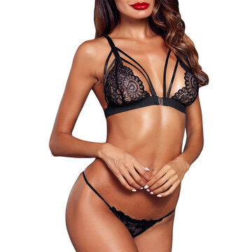 Lace Front Closure Backless Bra And Panty Sets