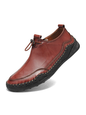 Men Hand Stitching Wide Fit Casual Flat Leather Shoes