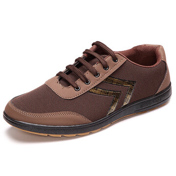 Men Mesh Splicing Breathable Outdoor Sport Lace Up Casual Shoes, Yellow brown