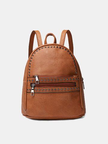 Women Studded Decor Pocket Front Mini Backpack