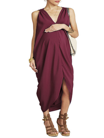 Maternity V-Neck Sleeveless Formal Dress