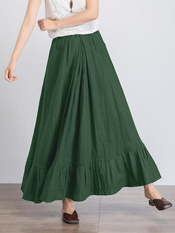 Solid Color Pleated A-line Skirt