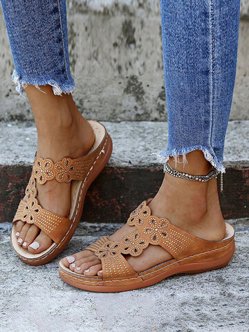 Rhinestone Carved Hollow Wedges Sandals