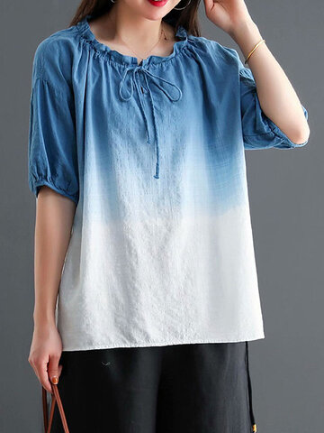 Gradient Color O-neck Knotted Blouse