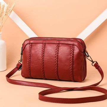 Women Vintage Soft Crossbody Bag Double Layer Shoulder Bag