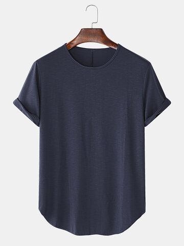 ソリッドカラーのルーズカジュアルTシャツ
