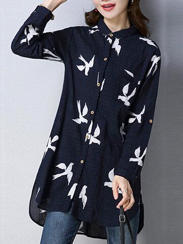 Women Print Buttons Shirt