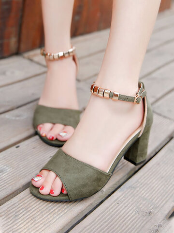 Suede Beading Ankle Strap Buckle Heels