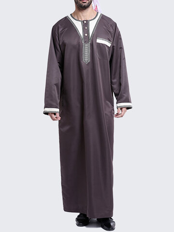 Muslim Middle East Mens Fashion Solid Robes Suit