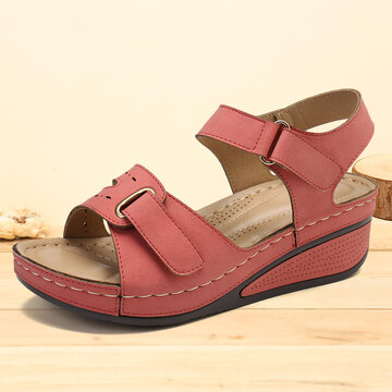 Stitching Hollow Hook Loop Wedge Sandals
