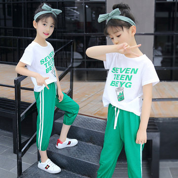 Children's Suit Season New Girls Casual Short-sleeved Two-piece Set Of Large Children's Suits