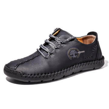 Menico Men Hand Stitching Casual Leather Shoes