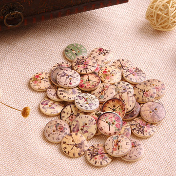50Pcs Vintage Clock Wooden Buttons