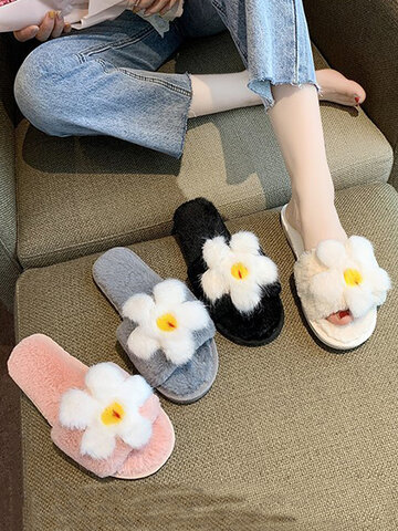 Cute Flower Patttern Plush Cotton Slippers