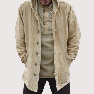 Mens Cotton National Style Vintage Hooded Jacket