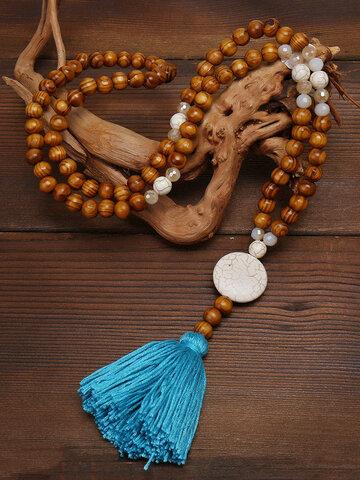 Wooden Beads Tassel Necklace