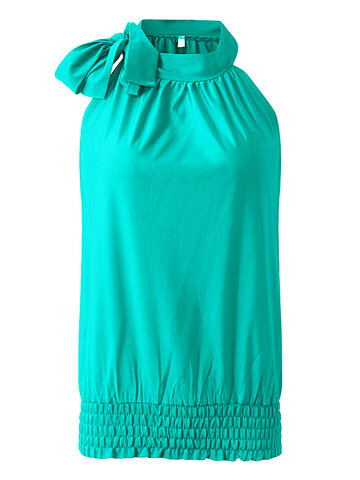 Women Halter Draped Ruched Bow Tie Tank Tops
