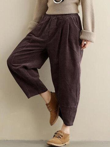 Loose Women Pure Color Elastic Waist Pockets Corduroy Pants