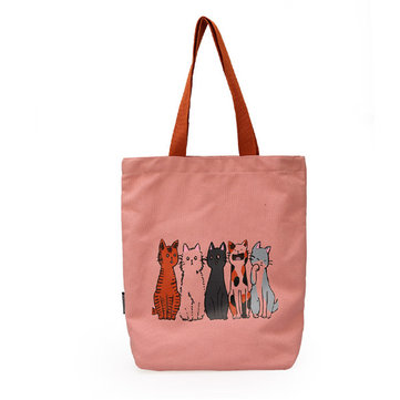 Women Cartoon Cat Print Handbag Casual Shoulder Bag
